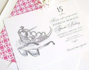 Quinceanera Invitation, Sweet 16 Invitations, Princess Party, Fairytale, Disney (set of 10 invitations + RSVP cards and white envelopes)
