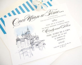 Fairytale Wedding, Disney Inspired Engagement Party Invitations, Fairytale Wedding Engagement Announcements (set of 25 cards)