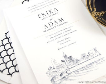 Indianapolis Skyline Wedding Invitations Package (Sold in Sets of 10 Invitations, RSVP Cards + Envelopes)