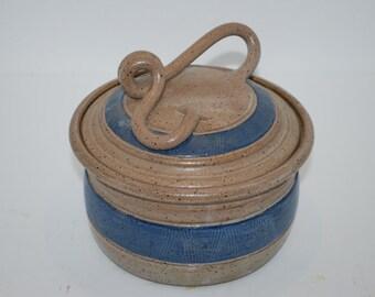 Vintage Pottery Bowl Lid Blue Stone Unique Lid Design