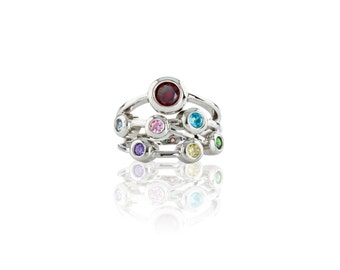 MAMA Bubble Mother's Ring - 1 to 7 Stone - Yellow/White/Rose Gold Plated Silver