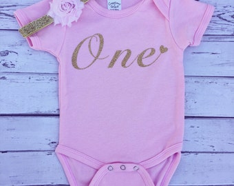 1st Birthday Pink and Gold Bodysuit, One Bodysuit, First Birthday Shirt, Baby Girl Bodysuit, Baby, 1st Birthday Outfit, Pink Birthday Shirt