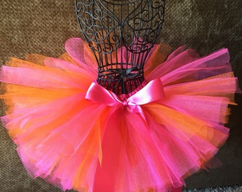 Tropical Tutu, Pink and Orange Tutu, Infant Tutu, Newborn Tutu, Baby Tutu, Toddler Tutu, Birthday Tutu, Sherbet Tutu, Photo Prop, Tutu