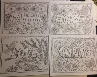 Set of Four - Faith, Hope, Charity and Love Botanical Flowers - Printable Coloring Pages