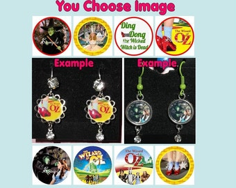 The WIZARD OF OZ Earrings - You Choose Image & Style Rhinestones Wicked Witch Good Ding Dong Ruby Slippers Shoes Dorothy Toto Scarecrow Lion
