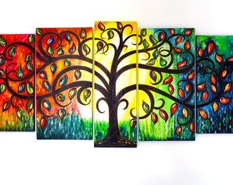 SOLD SOLD Original painting, acrylic painting, wall art canvas, bespoke  painting, tree of life, tree of life wall decor, abstract wall art