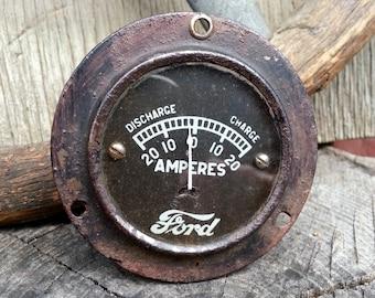 Model T Ford Amperes Meter - Rustic 1920's Gauge For Decoration