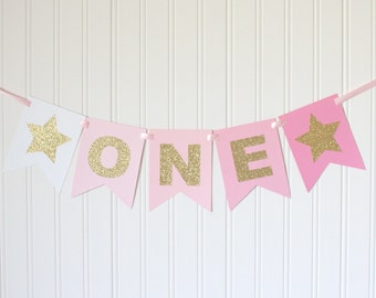 Gold Glitter Pink Ombre ONE High Chair Banner Star Happy Birthday Banner/ Girl 1st Birthday/Princess Party/ Party Decorations/first birthday