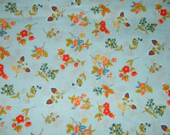 BTY Small FLOWERS on Blue Print 100% Cotton Quilt Craft Fabric by the Yard