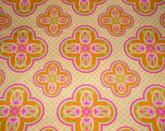 26 Inches Yellow, Orange, Fushia GRAND BALLROOM Print 100% Cotton Quilt Crafting Modkid Fabric by the PIECE