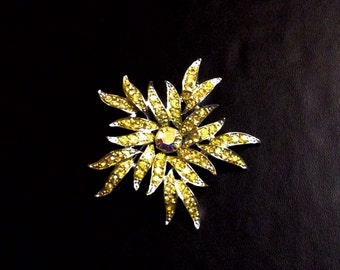 Vintage Sarah Coventry Aurora Blaze Brooch Pin, 1967, Signed