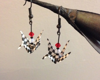 Origami Paper Crane Earrings with Checkered-Print Paper, Red and White Swarovski Crystals, Glass Beads and Black Nickel Free Metal