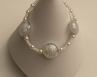 Hand Crafted White, Silver and Pearl Beaded Bracelet.