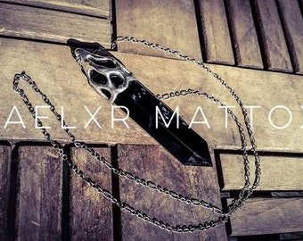 Made To Order: Sterling Silver Caged Double Terminated Obsidian Point Necklace