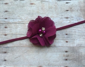 Plum Chiffon Flower Baby Headband
