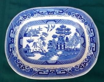 Antique BLUE WILLOW Serving Platter Plate BUFFALO Pottery 1911