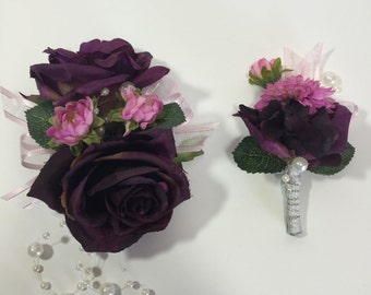 Dark Purple Rose And Pink/Purple Mum Corsage And Boutonniere Set