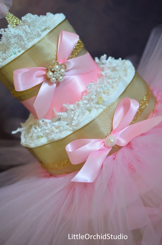 Items similar to pink and gold princess diaper cake