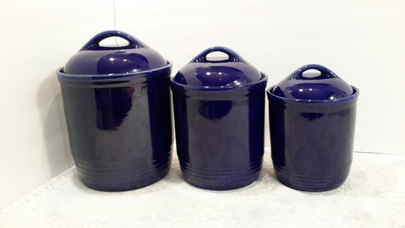 cobalt blue kitchen canisters cobalt blue ceramic canister set 16744