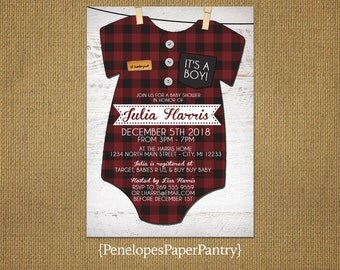 Rustic Baby Boy Shower Invitations,Red and Black Plaid Flannel Onesie,Clothes Pins,Buttons,Lil' Lumberjack,White Wood,Customizable,Envelopes