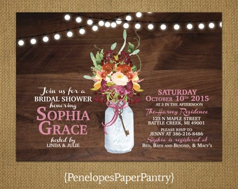 Rustic Fall Bridal Shower Invitation, Rustic Wood, Fall Flower Bouquet, Mason Jar, Strings of Lights, Customizable & Includes Envelopes