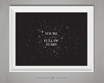 Coldplay print, Lyrics print, Night print, You're A Sky Full of Stars, coldplay, stars, coldplay lyrics, printable art, Coldplay print