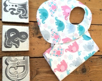Baby Bib & Burp cloth set - baby nelly elephant print- freckles and daisies