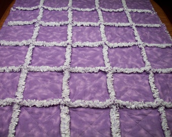 Baby Rag Quilts, Girls Baby Quilt, Lavender Rag Quilt, Purple Baby Blanket, Handmade Quilt, Rag Quilt For Sale, Toddler Bedding, Nursery,Lap