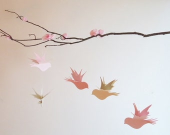 Bird Mobile - Pink Birds Mobile, Home Decor, Nursery Mobile, Birds On Branch, Choose Your Colors, Baby Mobile, Girl Mobile, Kids Room