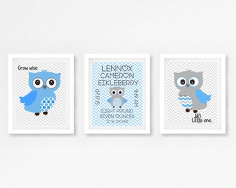 Baby Boy Nursery Print, Baby Boy Owl Print, Baby Boy Birth Announcement, Baby Boy Owl Nursery Decor, Baby Boy Christening Gift