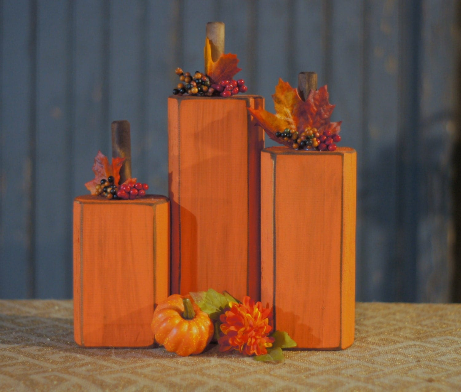 Wood pumpkin rustic fall decor primitive by gftwoodcraft