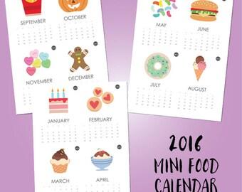 2016 Mini Calendar Printable