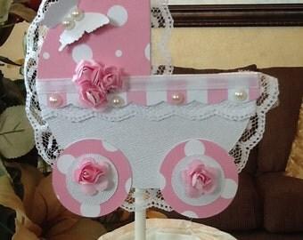 Baby shower cake topper/Girl baby shower cake topper/Pink and white carriage baby shower cake topper/Elegant baby shower cake topper