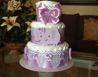 Lavender and grey elephant diaper cake/Elephant baby shower centerpiece/girl diaper cake/Light purple and grey elephant diaper cake