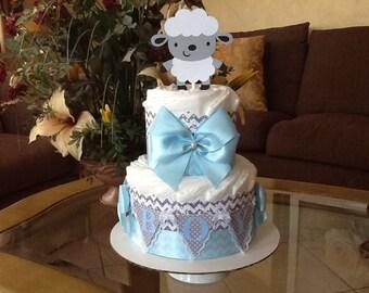 Boy diaper cake/Lamb diaper cake/Boy baby shower centerpiece/Lamb baby shower centerpiece/Gift/Grey and blue diaper cake/elegant diaper cake