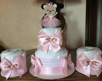 Ballerina bear diaper cake set/Ballerina baby shower centerpieces/Girl diaper cake ser/Girl baby shower centerpieces