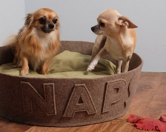 Modern dog bed Elegant pet bed customizable with name Brown cinnamon wool felt and panama cotton