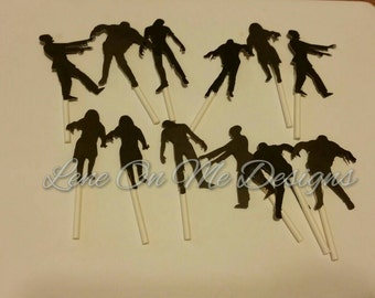 Zombie Cupcake Toppers / Cake Topper / Cupcake Topper / Halloween Party / Walking Dead Theme / Halloween Topper / Party Decorations / Zombie