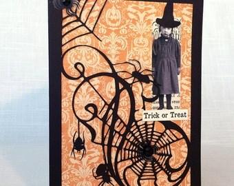 Halloween Card, Vintage Little Girl Card, Spider Web Card, Vintage Card, Collage Card, Handmade Card, Spider, Damask