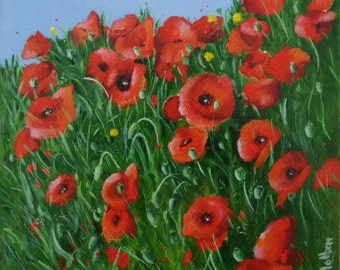 Original Small Oil Painting of Red Poppies, floral painting, flowers