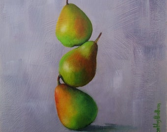 Original small oil painting of three green pears,