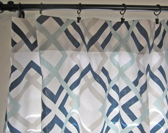 Navy/ Gray/ Aqua Curtain Panels, Pair of Curtain Panels, Home Decor, Window Covering, Window Treatment