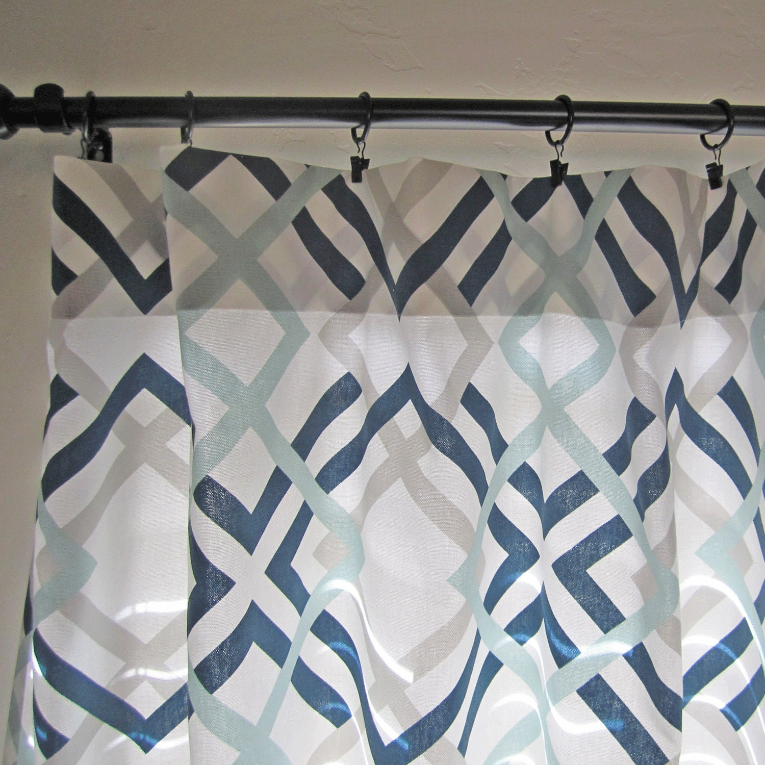 Navy Gray Aqua Curtain Panels Pair Of Curtain Panels Home
