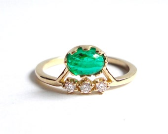 Emerald Cabochon and Diamond Ring, Engagement Ring, Wedding Band, 14K Yellow Gold
