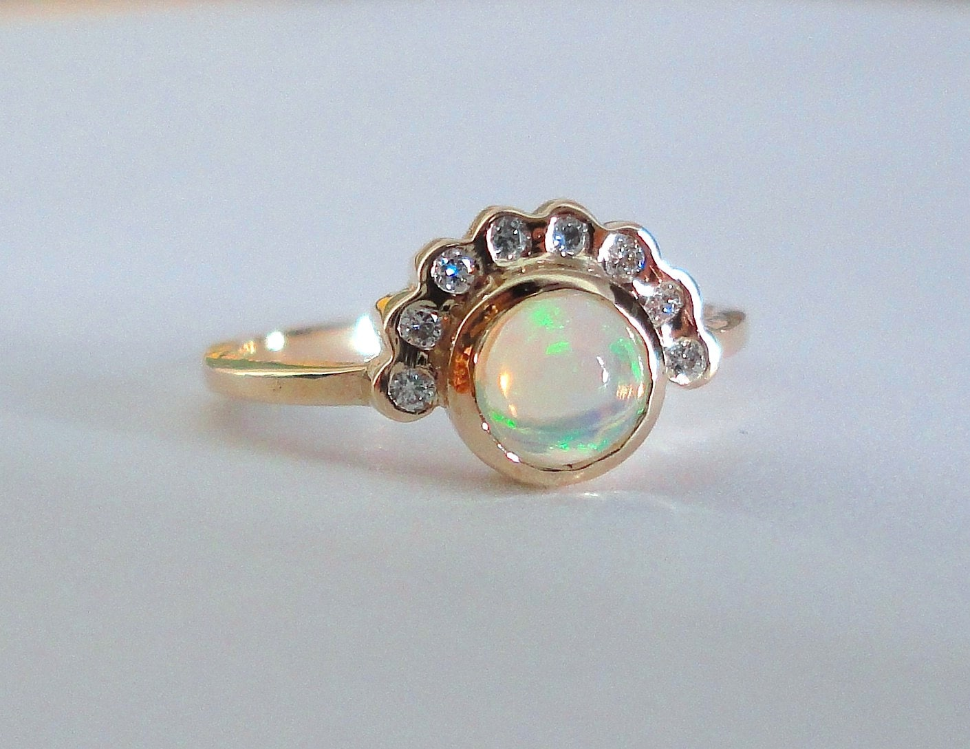Opal And Diamond Ring Engagement Ring Wedding Band 14K