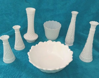 7 Pieces Milk Glass Collection Vintage Milk Glass Bowls and Vases