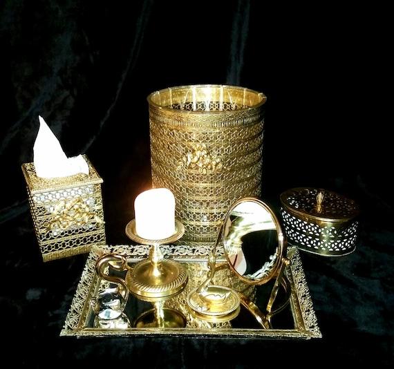 Gold Vanity Set Vintage Hollywood Regency Grooming Set