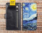 ipod touch wallet case oil painting zip pocket detachable leather cover for apple iphone 4 4s 5 5s 5c 6s plus ipod touch oilpainting