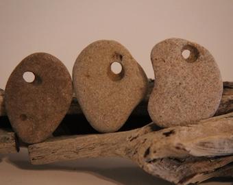 3-Medium-Grey/Lt. Brown-Beach Stones-Holey Stones-Jewelry Supply-Craft Supply-Mermaid-Pendant-Island-Surfer-Beach Wedding-Zen Stone-Item#141
