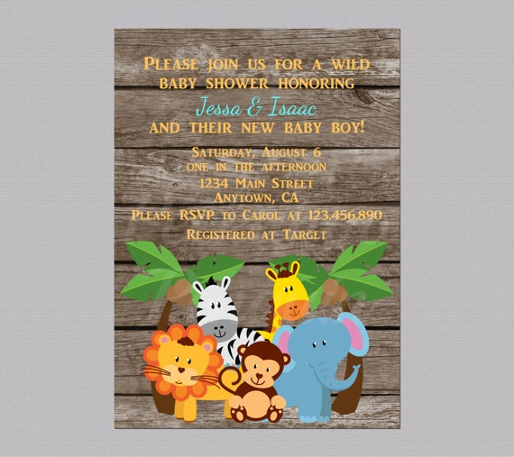 jungle baby shower invites zoo animal baby shower jungle, Baby shower invitation